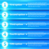 Banderas coloridas brillantes azules con números a partir de la 1 a 5 Imágenes de archivo libres de regalías