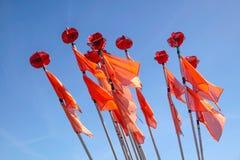 Banderas coloridas de boyas de un barco de pesca Imagenes de archivo