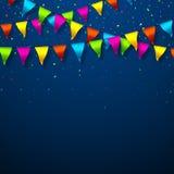 Banderas coloridas del empavesado con confeti ilustración del vector
