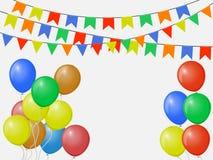 Banderas coloridas multicoloras festivas, guirnaldas del empavesado aisladas en el fondo blanco con los globos Modelo del vector ilustración del vector
