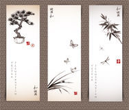 Banderas con el árbol de los bonsais, mariposas, bambú Imágenes de archivo libres de regalías