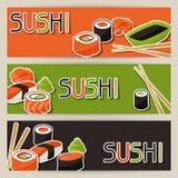 Banderas con el sushi Fotografía de archivo libre de regalías