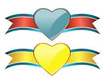 Banderas con estilo del corazón Imagen de archivo libre de regalías