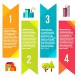 Banderas con la ciudad, ciudad de los gráficos de la información Imagen de archivo libre de regalías