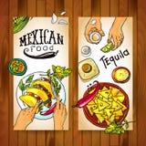 Banderas con la comida mexicana Foto de archivo