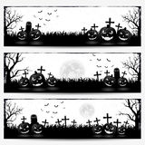 Banderas con las calabazas de Halloween Imagen de archivo libre de regalías