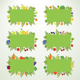 Banderas con las frutas, las bayas y las verduras Foto de archivo