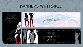Banderas con las muchachas Imagen de archivo libre de regalías