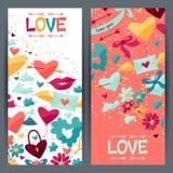 Banderas con los iconos de la tarjeta del día de San Valentín y de la boda Foto de archivo libre de regalías