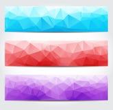 Banderas con poligonal multicolor Resumen triangular geométrico Fotos de archivo