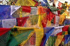 Banderas con rezos Imágenes de archivo libres de regalías