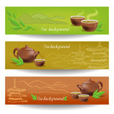 Banderas con té, la tetera y las tazas stock de ilustración