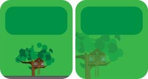Banderas con una casa en el árbol stock de ilustración