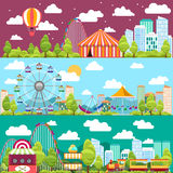 Banderas conceptuales de la ciudad del diseño plano con los carruseles Fotos de archivo libres de regalías