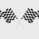 Banderas a cuadros que agitan en fondo transparente Competir con indicadores Ilustración del vector stock de ilustración