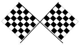 Banderas a cuadros - banderas que compiten con blancos y negros imagen de archivo libre de regalías