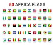 Banderas de África del país la bandera 50 redondeó vector cuadrado de los iconos stock de ilustración