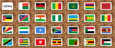 Banderas de África en la parte 2 de orden alfabético Fotos de archivo libres de regalías