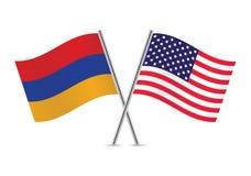 Banderas de Armenia y de América Ilustración del vector Fotos de archivo libres de regalías