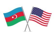 Banderas de Azerbaijan y de América Ilustración del vector Imágenes de archivo libres de regalías
