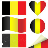 Banderas de Bélgica fijadas Imágenes de archivo libres de regalías