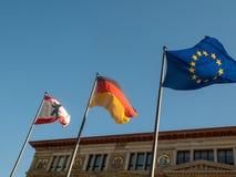 Banderas de Berlín, de Alemania, de la unión europea Imágenes de archivo libres de regalías