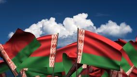 Banderas de Bielorrusia que agitan stock de ilustración