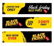 Banderas de Black Friday Plantilla del diseño del mercado del web de la venta del vector Concepto negro del descuento de la ofert Foto de archivo libre de regalías