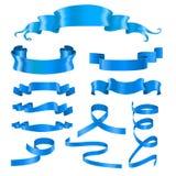 Banderas de Blue Ribbon Elementos brillantes sedosos del diseño 3d Fotos de archivo libres de regalías