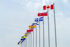 Banderas de Canadá y de la provincia Fotografía de archivo libre de regalías