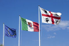 Banderas de Cerdeña, Italia, Europa Fotos de archivo libres de regalías