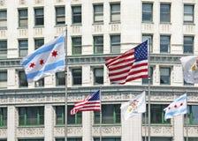 Banderas de Chicago imágenes de archivo libres de regalías