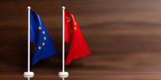 Banderas de China y de la UE en fondo de madera ilustración 3D Imágenes de archivo libres de regalías