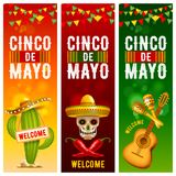 Banderas de Cinco de Mayo fijadas stock de ilustración