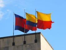 Banderas de Colombia y de Bogotá. Foto de archivo libre de regalías