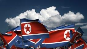 Banderas de Corea del Norte que agitan