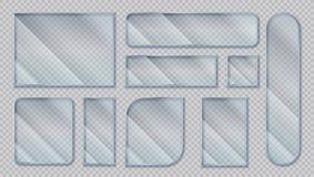 banderas de cristal realistas Efecto de ventana transparente, formas de acr?lico claras con reflexiones del resplandor Pl?stico a libre illustration