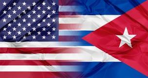 Banderas de Cuba y de los E.E.U.U. Imagenes de archivo