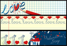 Banderas de escuela de la tarjeta del día de San Valentín Imágenes de archivo libres de regalías