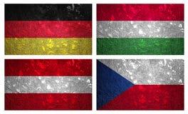 Banderas de Europa Central 1 Foto de archivo libre de regalías