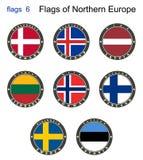 Banderas de Europa del norte Banderas 6 Fotos de archivo