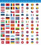 Banderas de Europa fijadas Foto de archivo