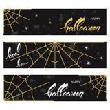 Banderas de Halloween con los web de araña Fotografía de archivo