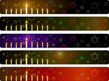 Banderas de Hanukka fijadas Imagen de archivo libre de regalías