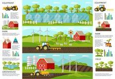 Banderas de Infographic del cultivo y de la agricultura Fotografía de archivo libre de regalías
