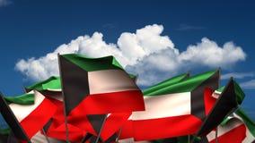 Banderas de Kuwait que agitan