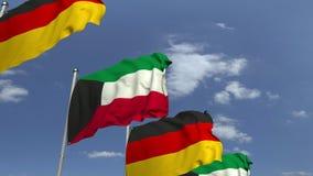 Banderas de Kuwait y de Alemania en la reunión internacional, animación loopable 3D libre illustration