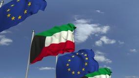 Banderas de Kuwait y de la unión europea en la reunión internacional, animación loopable 3D metrajes