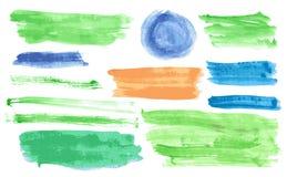 Banderas de la acuarela fijadas Imagen de archivo libre de regalías