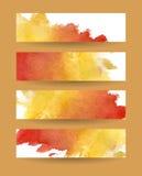 Banderas de la acuarela fijadas Fotos de archivo libres de regalías